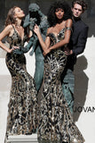 Jovani 63349 Sequin Sexy Mermaid Prom Dress Off the Shoulder Long Fitted Pageant