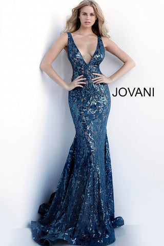 Jovani 63437 Embellished Mermaid Prom Dress Pageant Gown Plunging Neckline 2020