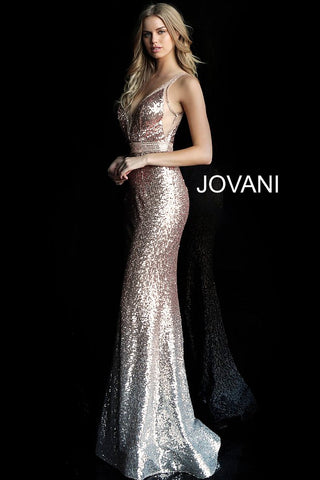 Jovani 63439 Rose Gold Sequin Ombre Prom Dress Pageant Gown 2020 Formal Evening