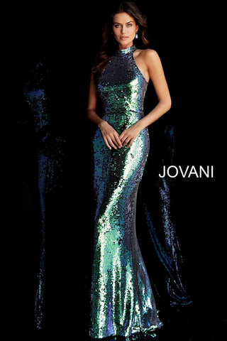 Jovani 63474 Embellished High Neck Long Sequin Prom Dress Iridescent Shimmer 2020