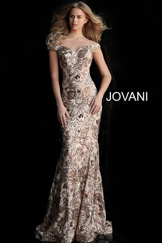 Jovani 63516 Copper/Gold or Black/Gold off the shoulder prom dress