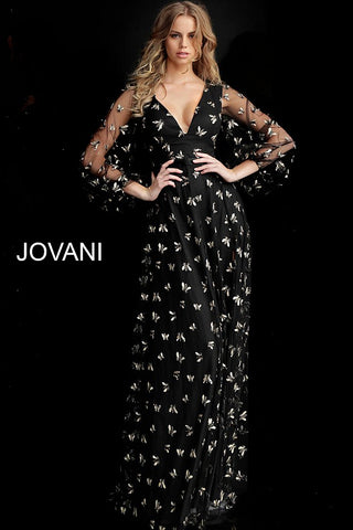 Jovani 63582 Black/ Gold embroidered bee details evening gown