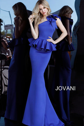 Jovani 63584 One Shoulder Peplum Mermaid Evening Dress with bow detail on the shoulder  Off White, Royal and Wine  Sizes 00-24