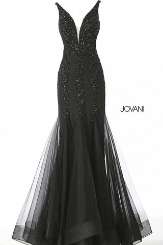 Jovani 63700 is a long embellished Prom Dress, Pageant Gown & Formal Evening Wear. This  beaded mermaid prom dress with mesh insert neckline evening gown.   Available Colors: black, blush, burgundy, charcoal, lavender, nude/silver Available Sizes: 00 - 24