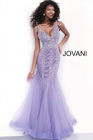 Jovani 63700 beaded mermaid prom dress with mesh insert neckline