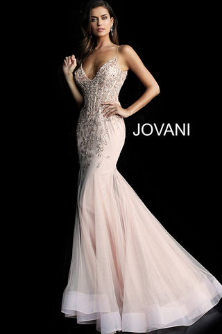 Jovani 63704 embellished sheer corset bodice mermaid long prom dress pageant gown evening dress