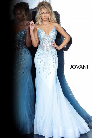 Jovani 63704 sheer corset bodice mermaid Prom Dress 2020 Pageant V Neck
