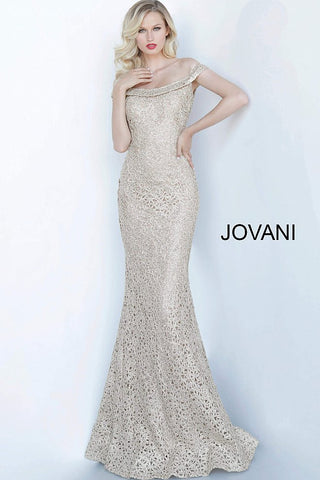 Jovani 63815 Long Fitted off the shoulder Flared evening gown Formal Dress