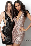 Jovani 63899 is a short fitted Homecoming cocktail dress, Sequin Embellished with a deep plunging V Neckline and open scoop back. Sheer mesh side panels. Stretch sequin for a comfortable wear all night long. Great for Prom, Pageants, Homecoming & any Formal Event!  Available Colors: black/nude, hunter, rose/gold, Red  Available Sizes: 00-24