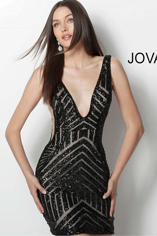 Jovani 63899 Short Sequin Cocktail Fitted Homecoming Dress V Neck Sheer