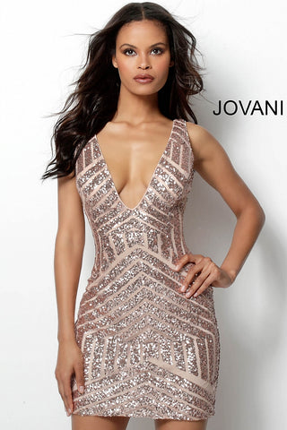 Jovani Form Fitting Embellished Plunging Neck Short Dress 63899