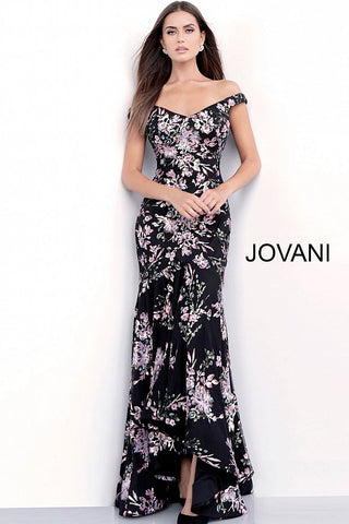 Jovani 63951 Black/Multi floral sequin embellished mermaid prom dress