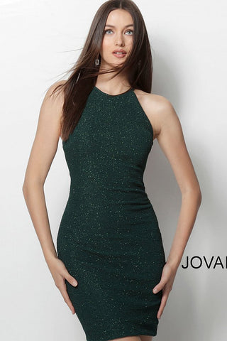 Jovani Emerald High Neck Fitted Glitter Short Dress 63954 Homecoming 2019