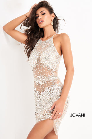 Jovani 64005 Silver/Nude beaded sheer high neckline short cocktail dress open back short prom dress   Silver Nude Beaded Sheer Cocktail Dress 64005  Available colors: Silver/Nude  Available sizes:  00-24