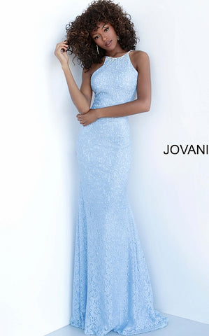 Jovani 64010 Long Fitted High Neck Embellished Lace Prom Dress Shimmer Crystal