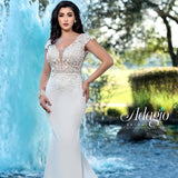 Adagio Bridal W9369 cap sleeve open back sheer lace wedding dress bridal gown with fitted crepe long skirt and sweeping train Colors  Ivory, White  Sizes  00, 0, 2, 4, 6, 8, 10, 12, 14, 16, 18, 20, 22, 24, 26, 28, 30