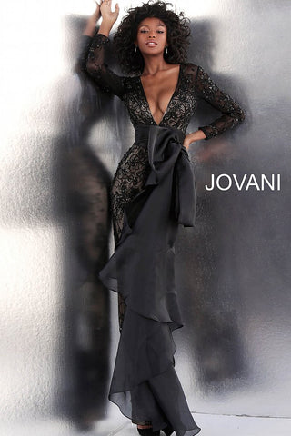 Jovani 64068 Black and Off White long sleeve pageant jumpsuit
