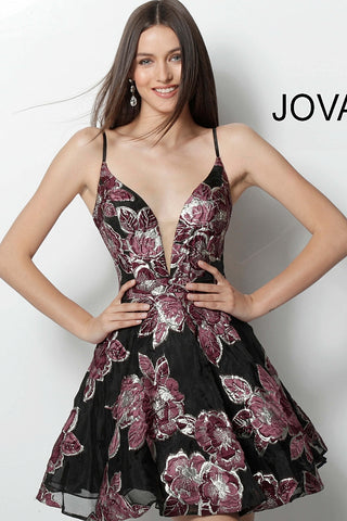 Jovani Multi Fit and Flare Plunging Neckline Short Dress 64090