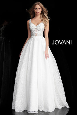 Jovani 64105 embroidered bodice tulle ball gown prom dress