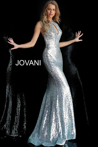 Jovani 64182 Long Sequin Mermaid Prom Dress Pageant Gown Keyhole High Neck