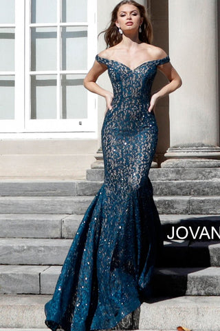 Jovani 64521 off the shoulder long train mermaid embellished lace prom dress   Available Colors: black,  peacock, red, steel, black/blue  Available Sizes: 00 - 24 Details:  underlay embellished lace prom dress with off-the-shoulder fitted bodice and sweetheart neckline, floor-length fitted skirt with a flared end and sweeping train.