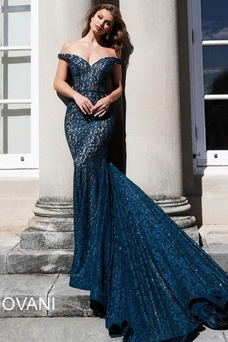 Jovani 64521 off the shoulder long train mermaid prom dress