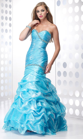 Alyce Paris Prom Dress 6475 TURQUOISE size 4 Organza Mermaid Flare Pageant