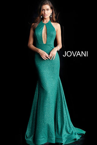 Jovani 64851 large keyhole neckline flowy train prom dress