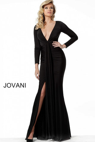 Jovani 64983 Black, Blush, Deep Royal, Hot Pink Sizes 00-24  Black Jersey Plunging Neckline Fitted Evening Dress 64983