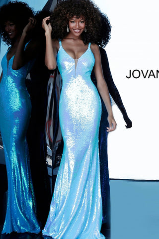 Jovani 65070 Sequin Embellished Shimmer Prom Dress Iridescent Gown Long