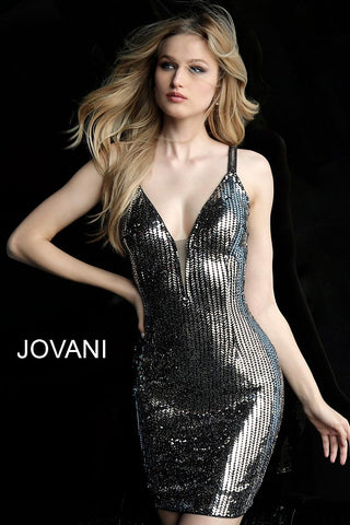 Jovani Black Silver Plunging Neckline Fitted Cocktail Dress 65169