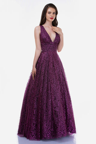 Nina Canacci 6520 Long Glitter Swirl V Neck Ballgown Prom Dress Formal Gown Open Back
