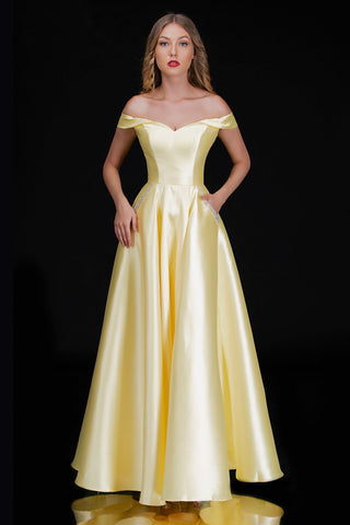 Nina Canacci 6521 is a long off the shoulder sweetheart neckline prom dress. featuring a lace up corset tie back with panels and a lush a line skirt with pockets embellished with crystal & Beading. Great formal evening gown. Perfect for Plus Size! Wedding dress in ivory.   Available Sizes: 4-24  Available Colors: Yellow, Ivory, Mauve