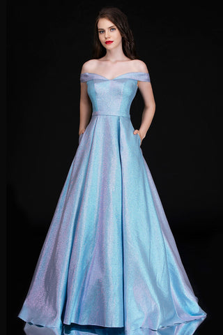 Nina Canacci 6524 Long Iridescent Shimmer off the shoulder ballgown Prom Dress