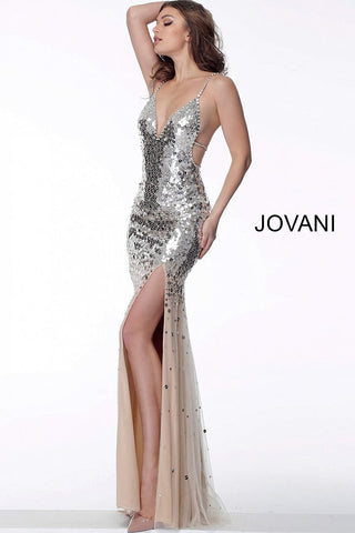Jovani 65306 sexy silver and nude open back prom dress