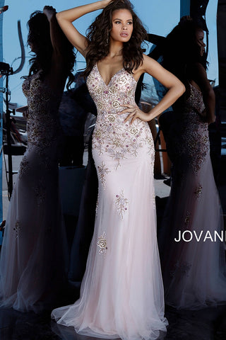 Jovani 65322 Beaded Backless V Neckline Evening Dress, Exquisite beading details on the bodice, long flowy fit and flare skirt with embellishments and a sweeping train.   Available colors:  Blush, Navy  Available sizes:  00-24