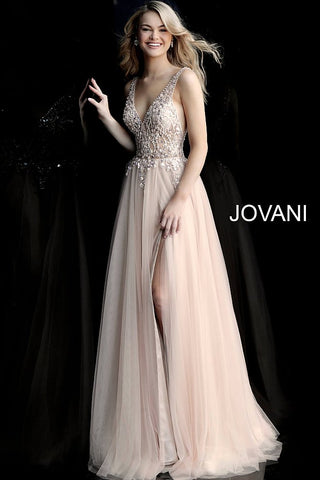 Jovani 65324 Nude sheer beaded bodice tulle prom dress