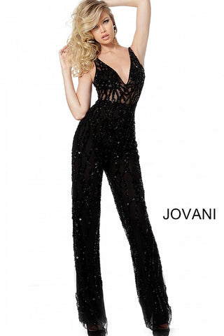 Jovani 65330 Black and Silver/Nude Sizes 00-24