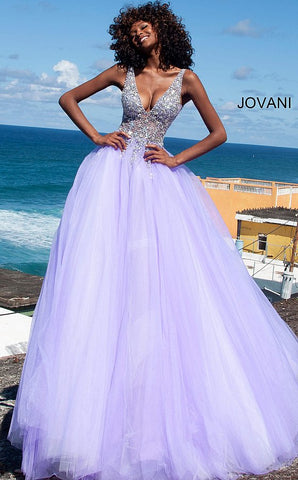 Jovani 65379 crystal embellished bodice tulle ball gown prom dress   Available Colors: grey, lilac, white  Available Sizes: 00 - 24 Details: Grey long prom ballgown with crystal embellished sheer sleeveless bodice, v-neckline, mesh insert sides and open sheer v-shaped back, floor length flared and pleated a-line skirt.