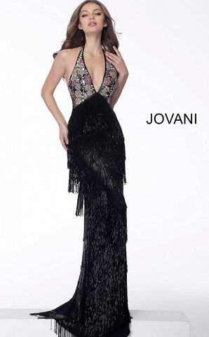 Jovani 65384 Black halter neckline fringe fitted prom dress Black halter fringe long prom dress with embellished sleeveless fitted bodice, halter v-shaped neckline and open back with exposed embellished straps, floor length fitted tier fringe skirt with high waist. Great gown with hand beaded tassels. the fringe enhances any figure!  Available Colors: black Available Sizes: 00 - 24