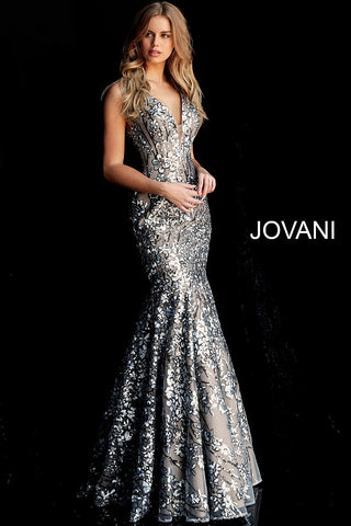 Jovani 65385 Fitted Mermaid 2020 Prom Dress Plunging Neckline Long Pageant