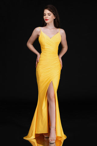 Nina Canacci 6539 Long Yellow Fitted Prom Dress V Neck Slit Maxi Ruched Evening