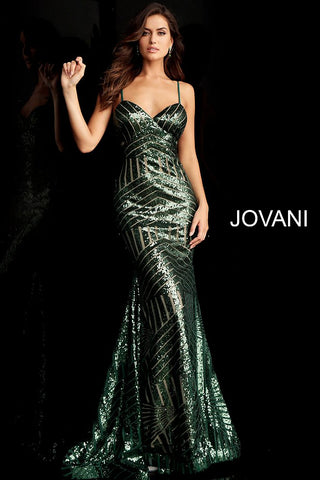 Jovani 65409 sweetheart neckline sequin panel fitted prom dress evening gown    Available Colors: black/nude, hunter, rose/gold Available Sizes: 00 - 24 sequin fitted long prom dress with spaghetti straps, sweetheart neckline, sleeveless fitted bodice and low v-shaped back, floor length fitted skirt with flared end and train.