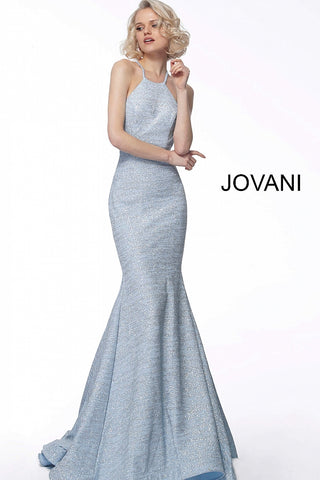 59221998407 Jovani 65416 White glitter jersey fitted prom dress with high neckline  Sizes 00-24
