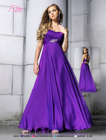 Riva 6551 Purple Prom Dress size 14 Long chiffon pageant gown keyhole back