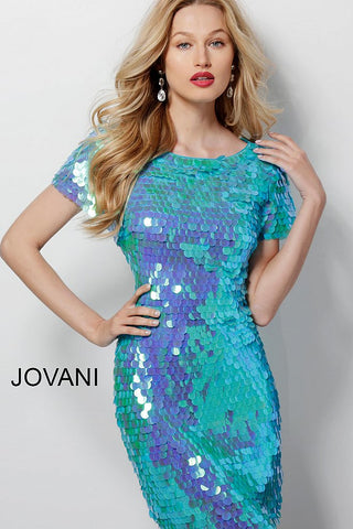 Jovani Aqua Paillette Short Sleeve Cocktail Dress 65575