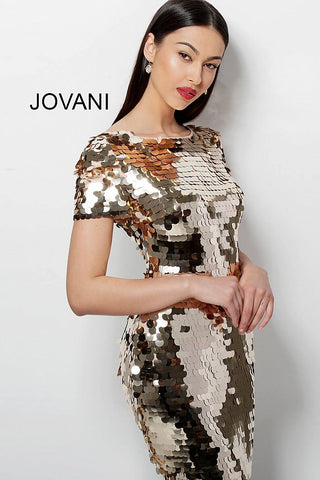 Jovani Gold Paillette Short Sleeve Cocktail Dress 65575