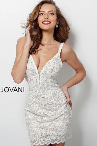 Jovani 65576 Homecoming Dress 2019 Ivory Lace Cocktail Gown V Neck