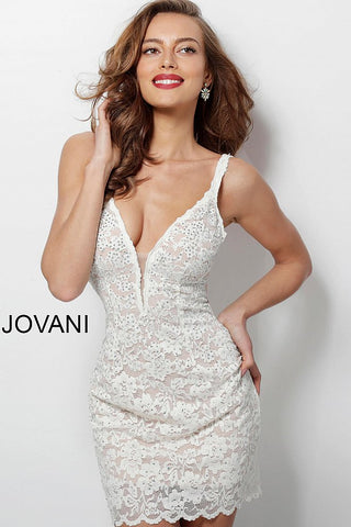 Jovani 65576 Lace Homecoming Dress Plunging Neckline Cocktail Gown