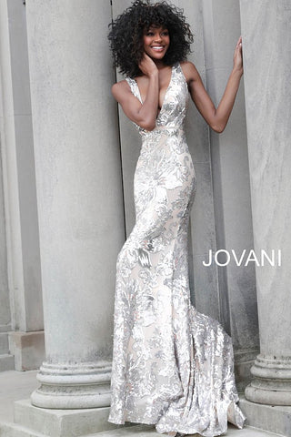 Jovani 65578 Plunging V Neck Embellished Prom Dress Sexy Evening Gown 2020